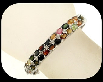 "New 925 Sterling Silver & Multi Color Tourmaline 2 1/4"" Hinged BANGLE BRACELET"