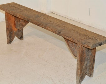Antique French Country Solid Oak Bench 100 Years Old #5556