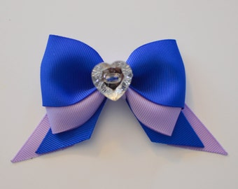 Blue and Purple Hair Bow, Headband, Hair Clip, Royal Blue, Lilac, Heart Embellishment, Bow, Hair Bow, Blue Bow, Purple Bow