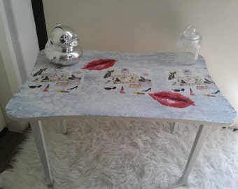 Vintage upcycled fashion side table