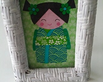 Cute Japanese girl pinting in wicker frame! Upcycled frame nursery kids room decoration