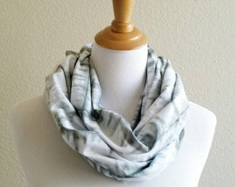 Hand Painted Scarf, Hand dyed Scarf, Summer Scarf, Cotton Scarf, Light weight Scarf, Tie Dye Scarf, green Shibori Scarf, green & white scarf