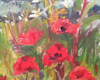 Impressionist Oil Painting, original art, Red Poppies, 10x12in