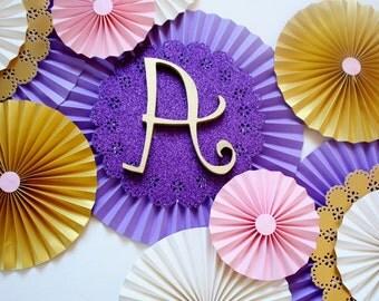 Paper Rosettes - Paper Fans - Gold Paper Rosettes - Pinwheel Backdrop - Nursery Decoration - Birthday Decoration - Baby Shower Decor