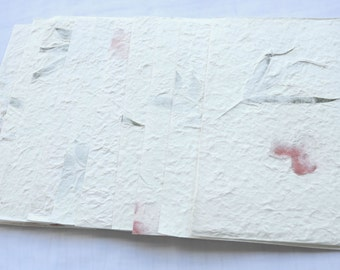 """10x Dried Pressed  Leave or Flower Handmade Mulbery paper - Scrapbook, Card 8 1/2"""" x 5 3/8"""" yhp003"""