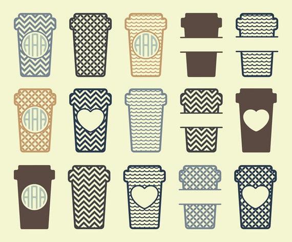 Download Coffee Cup SVG Monogram Frame Cut Files Coffee Cup Monogram
