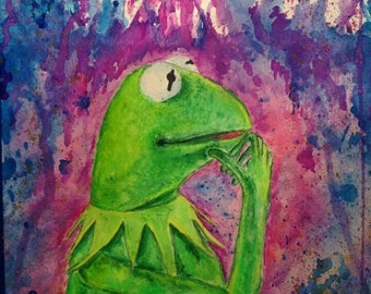 The Muppets-Kermit Watercolor Print