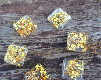 1.5 cm square button - custom buttons - glass buttons, gold sparkle, unusual buttons, cute buttons, handmade buttons, resin buttons