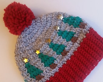 Crochet Christmas Tree Hat Pattern, Crocheted Christmas Pompom Hat, Photo Prop, Winter Beanie, Tapestry Crochet, Stocking Stuffer