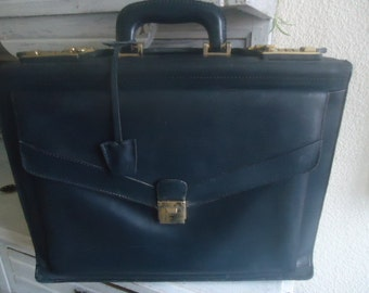 Leather French briefcase ,Vintage satchel 80's, French Doctor's briefcase,