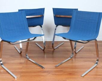Chrome Set of Mid Century Chairs (4)