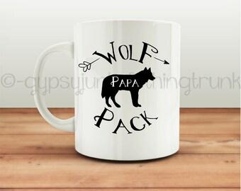 Wolf Mug - Wolf Pack Papa Mug - Arrow Print Mug - Papa Wolf Cup - Wolf Coffee Mug - Wolf Pack- Coffee Gifts - Wolf - Coffee - Animal Print