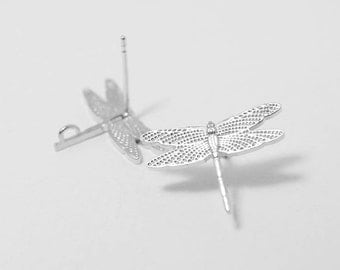 E0091/Anti-Tarnished Matte Rhodium Plating Over Brass/Dragonfly Stud Earrings/16.5 x 12 mm/1 pair