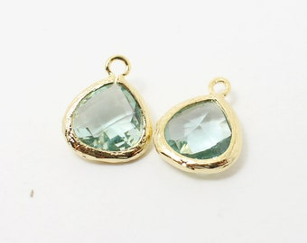 G002210/Erinite/Gold plated over brass/Small teardrop faceted glass Pendant/11x13mm/2pcs