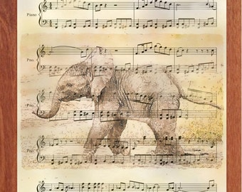 Baby Elephant Walk, Printable Wall Art, Digital Art, Elephant, Music, Inspirational, Motivational, Fun, Instant Digital Download,