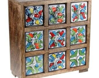 Mango Wood & Ceramic, set of 9 drawers