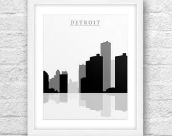 Detroit City, Detroit Print, Detroit Art, Detroit Skyline, Wall Art, Minimal Design, Minimalist Art, Detroit Printable,Instant Download