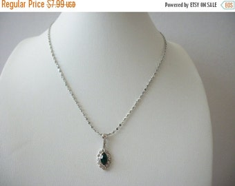 ON SALE Vintage Dainty Silver Tone Clear Green Rhinestones Necklace 8916