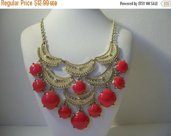 ON SALE Vintage Unique Oriental Inspired Gold Tone Filigree Red Beaded Necklace 962
