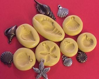 Lot of 7 Seashells Silicone Push Molds - C2