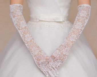 Wedding Gloves, Bridal Gloves, White Lace Floral Gloves, French Lace Gloves, Rhinestone Crystal Gloves, Wedding Accessory