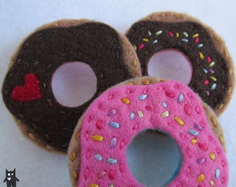Hand Sewn Felt Doughnut Brooch//Choose Icing colour and toppings!