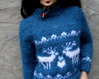 """Green and white stranded knitting hand made sweater for 17"""" male Tonner dolls"""