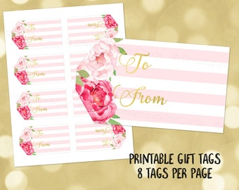 Printable Gift Tags Pink Stripes Gold Pink Watercolor Floral Instant Digital Download