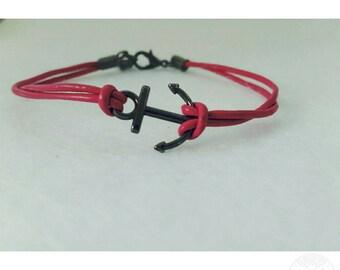 Gunmetal Anchor adjustable bracelet.