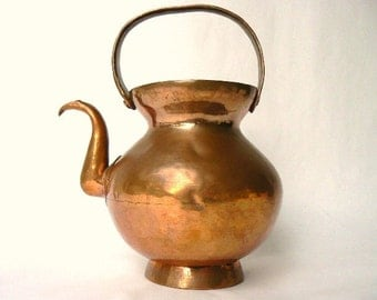 """Antique Copper Pitcher Pot - Primitive Footed Vessel - Curved Pouring Spout-Rustic Charm - Riveted Old Pail Style Handle, Patina Rich 9""""tall"""