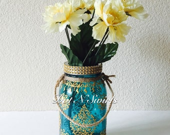 Beautiful Handmade Teal Color,Morrocan Pattern Mason Jar Lantern/Vase With Twine handles,perfect for decoration,modern living