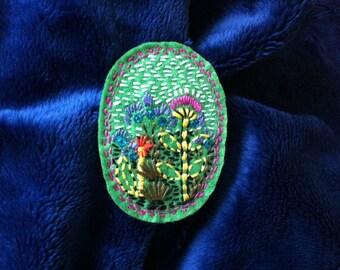 "Embroidered ""Green"" Felt brooch hand made"