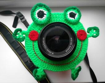 Smiling frog, Camera Lens Buddy, Camera Accessories, Lens Buddy, Crochet Lens Critter, Photographer Helper, Family Photography