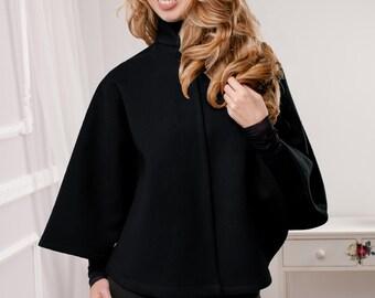 Black cape, Black Poncho, short black cape, wool Poncho, wool cape, short black poncho, Round cape, Round poncho, Gray cape, Lilac cape