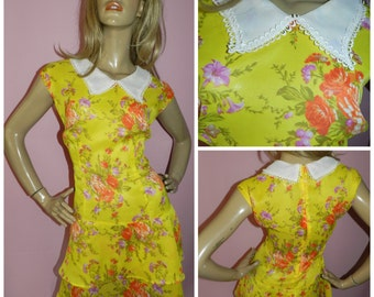 Vintage 1960s Yellow/Orange PETER PAN Collar drop waist Dolly Mod Scooter dress 16 L 60s Semi Sheer KITSCH Modette