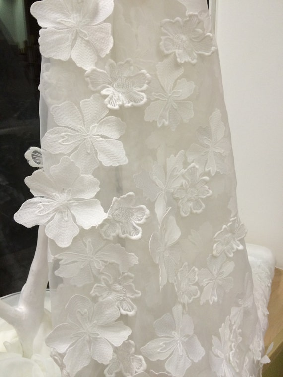 Ivory lace fabric 3d french lace embroidered lace wedding for French lace fabric for wedding dresses