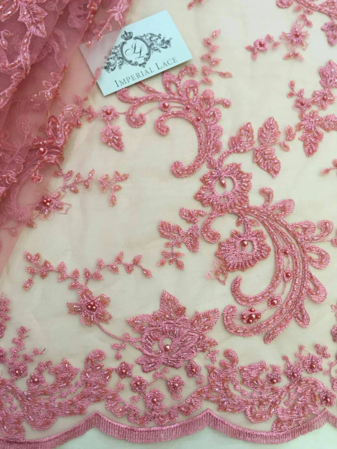 Pink beads lace fabric Embroidered lace French Lace Wedding