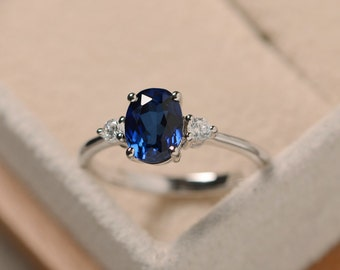 Sapphire ring silver, blue gemstone ring sapphire, promise ring, oval cut sapphire ring