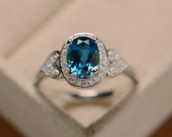 Blue topaz ring, oval London blue topaz, sterling silver, heart ring, oval halo ring
