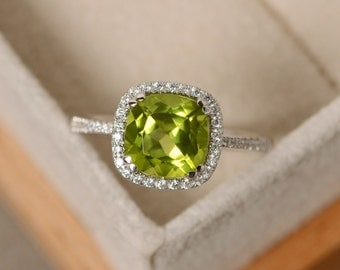 Peridot engagement ring, sterling silver, cushion cut peridot, August birthstone ring, natural peridot gemstone