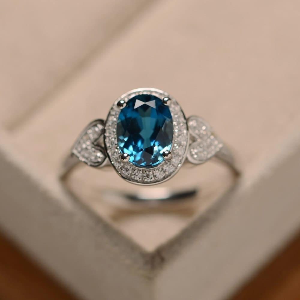 blue topaz ring oval london blue topaz sterling silver. Black Bedroom Furniture Sets. Home Design Ideas