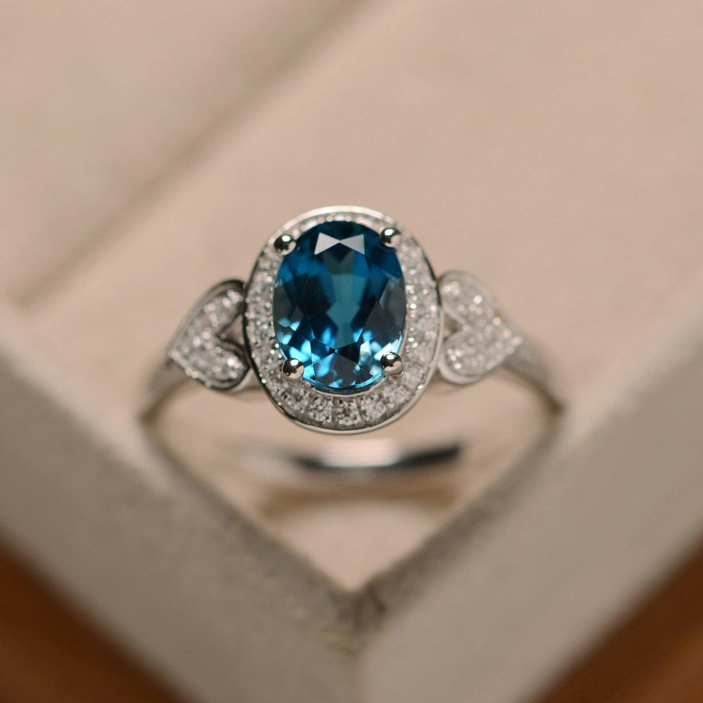 Blue Topaz Ring Oval London Blue Topaz Sterling Silver