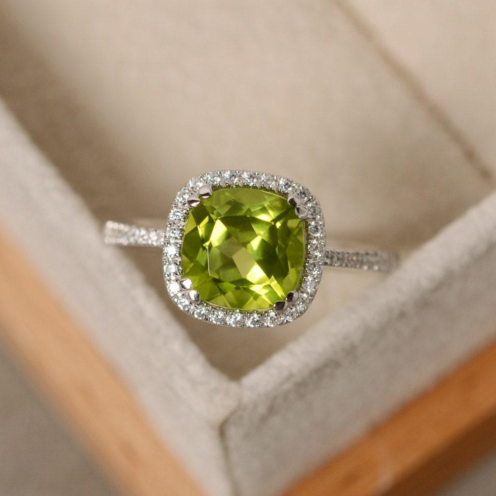 peridot engagement ring sterling silver cushion cut peridot. Black Bedroom Furniture Sets. Home Design Ideas