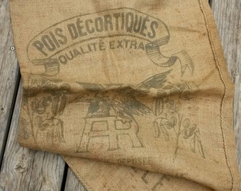 Vintage Jute Sack, Marseille, Upcycling Jute, Eagle, Large Sack, Loft Decor, Vintage Hessian, Burlap Bags