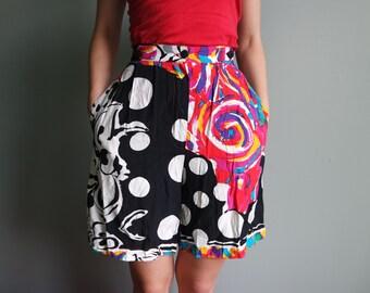 80s 90s Vintage Shorts Colourful Red Black White Yellow Shorts High Waisted Shorts Bermuda Pants Bicycle shorts Shorts like Skirts