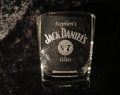 Personalised Jack Daniels 295ml Engraved Glass