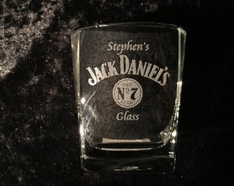 Personalised Jack Daniels 295ml Engraved Glass