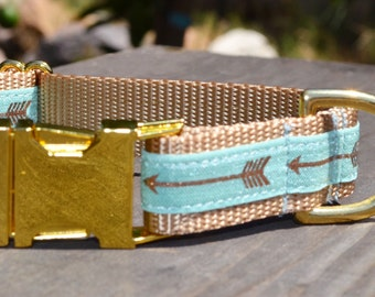 Isaac. Dog Collar, Gold Hardware, Arrow, Girl, Boy