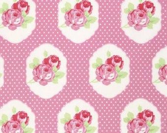 35% off - 2 yards Free Spirit Tanya Whelan Collection - Lola Pink Frame Floral Dot PWTW106-PINK