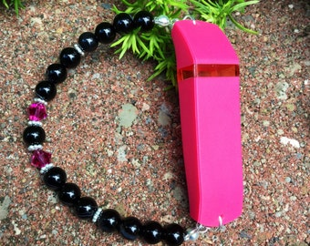 Fitbit Bracelet, Beaded Fitbit Flex Bracelet, Stretch Activity Tracker Bracelet, Black and Pink Beaded Bracelet, Swarovski Crystal Bracelet